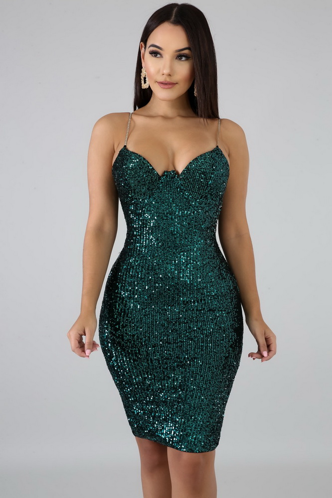 ML22035 Sexy Women Spaghetti Strap Bodycon Sequined Party Dress