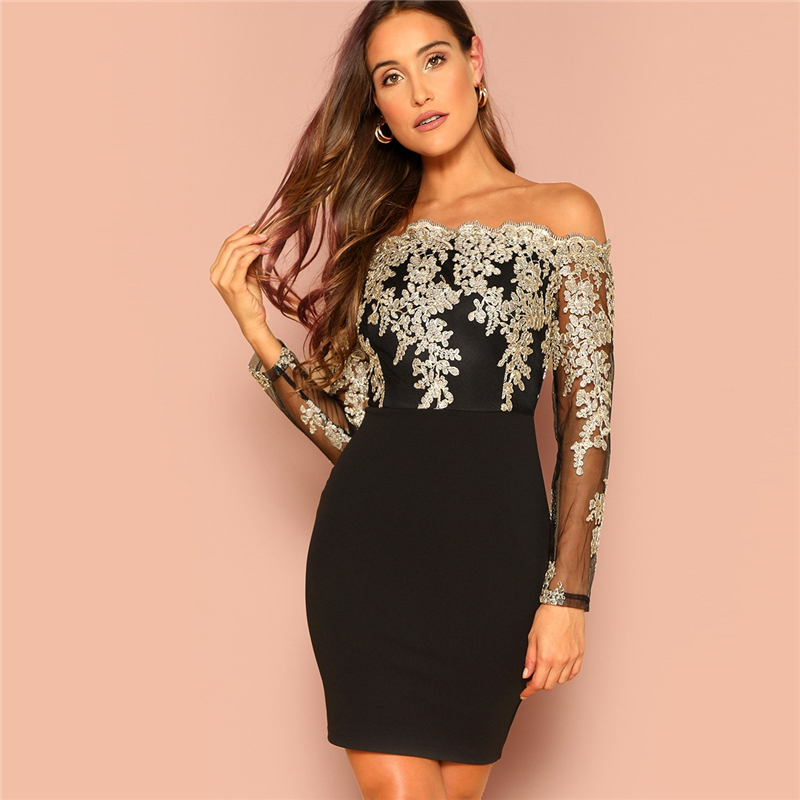 ML22068 Sexy Women Slash Neck Long Sleeve Bodycon Lace Party Dress