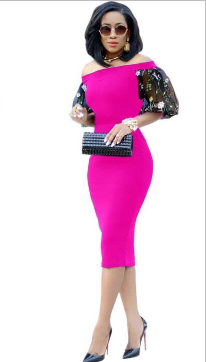 ML22270 Sexy Women Slash Neck Bodycon Pencil Dress