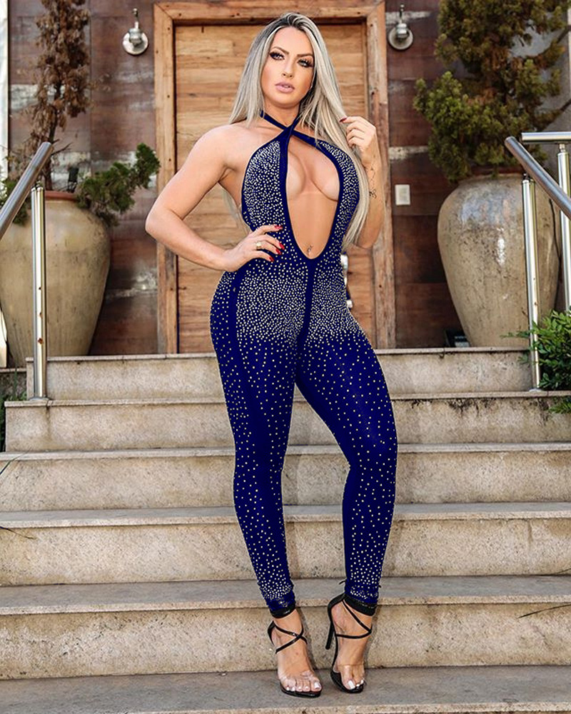 ML22792 Sexy Women Halter Bodycon Beading Party Jumpsuit
