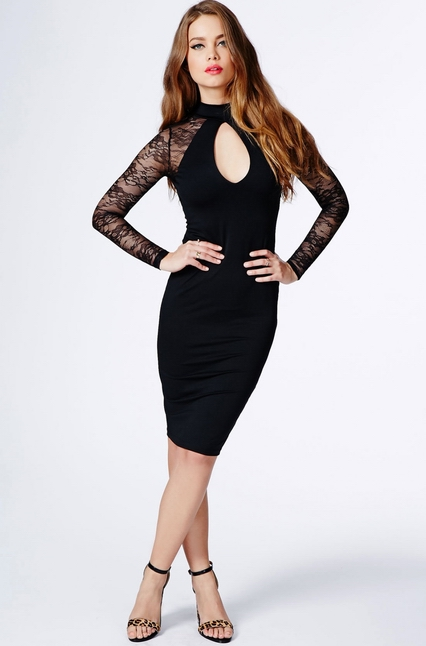 ML18151 Lace Long Sleeve Sexy Backline Party Dress