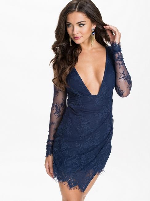 ML18177 Deep V Neckline Lace Long Sleeve Mini Dress