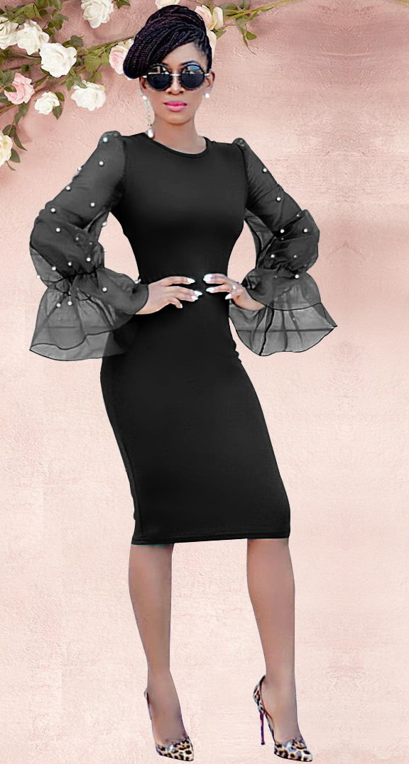 ML22271 Sexy Women O-neck Flare Sleeve Bodycon Beading Party Dress