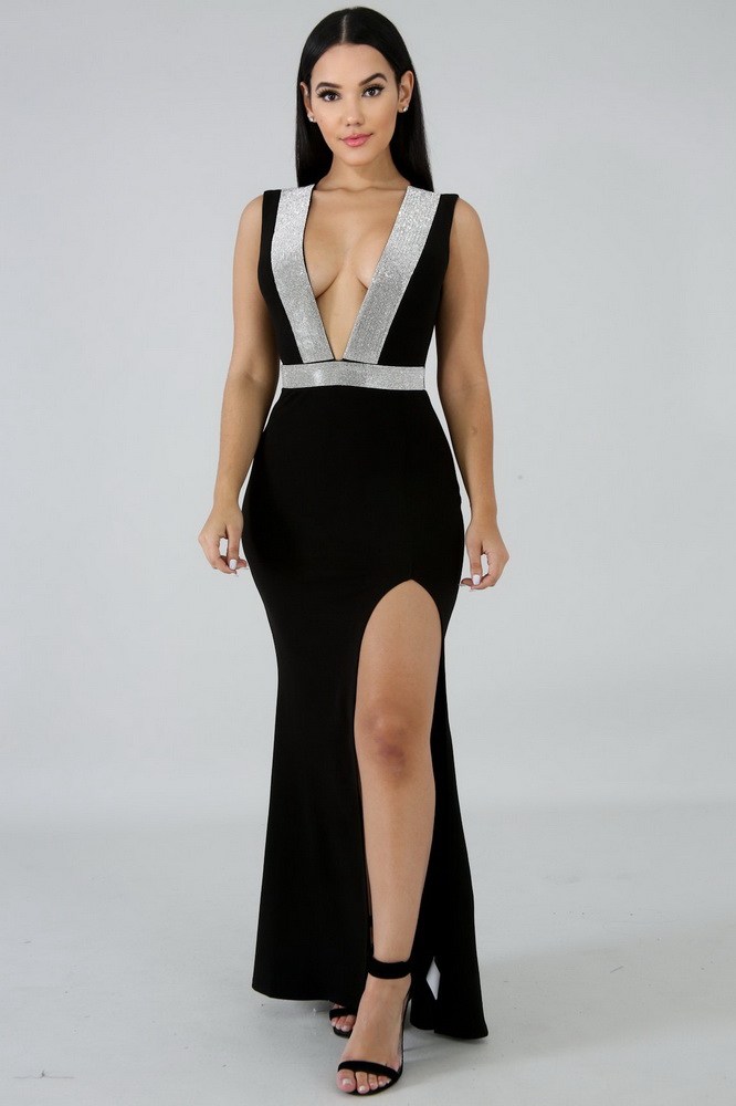 ML22202 Sexy Women Deep V-neck Sleeveless Bodycon Party Dress