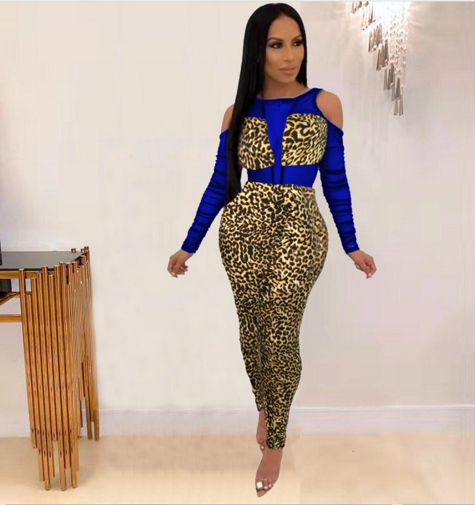 ML22227 Sexy Women O-neck Long Sleeve Bodycon Leopard Hollow Out Jumpsuit