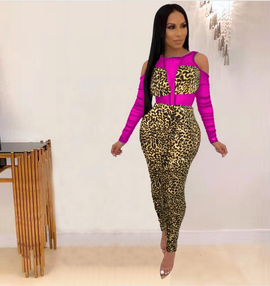 ML22228 Sexy Women O-neck Long Sleeve Bodycon Leopard Hollow Out Jumpsuit