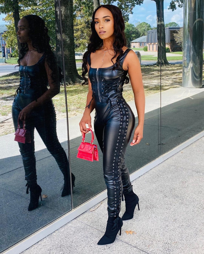 ML22826 Sexy Women Two Pieces PU Leather Lace Up Party Outfits
