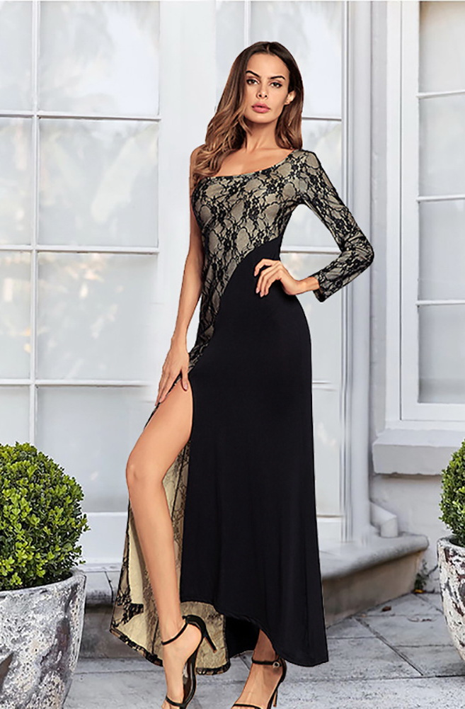 ML21874 Sexy Women One Shoulder Bodycon Lace Long Party Dress
