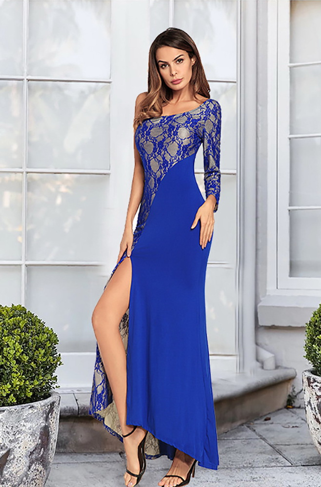 ML21875 Sexy Women One Shoulder Bodycon Lace Long Party Dress