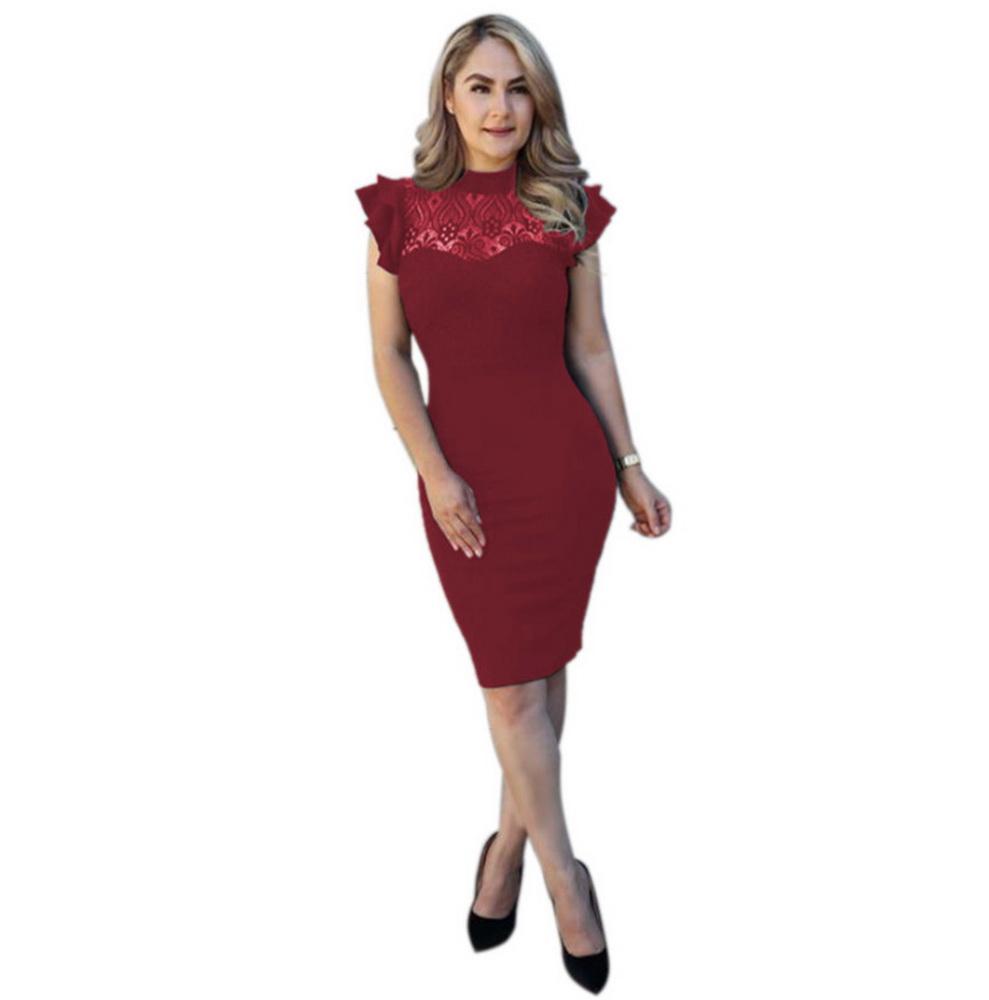 ML21939 Sexy Women O-neck Sleeveless Bodycon Pencil Dress