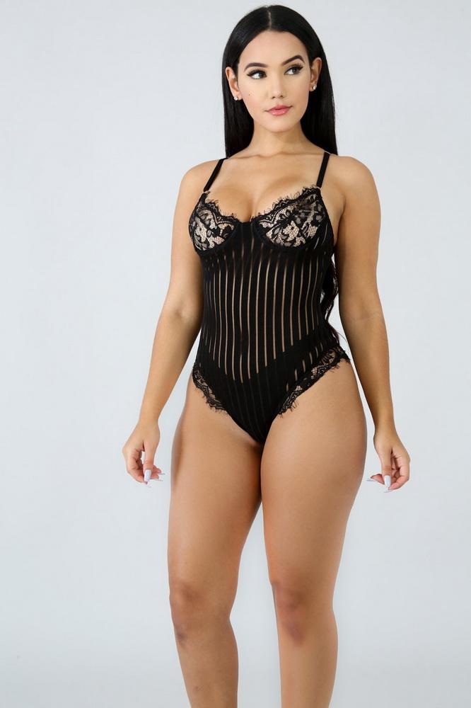 ML21261 Sexy Women Spaghetti Strap Lace Bodysuits