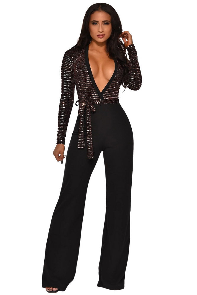 ML22221 Sexy Women Deep V-neck Elegant Sequined Party Jumpsuit
