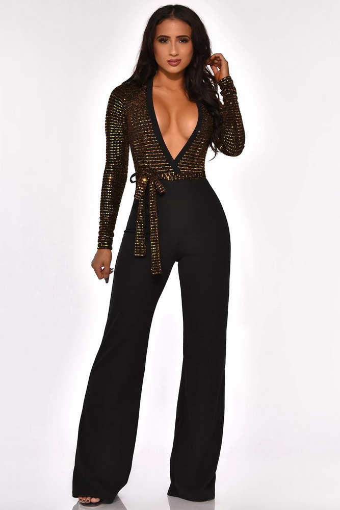 ML22218 Sexy Women Deep V-neck Elegant Sequined Party Jumpsuit