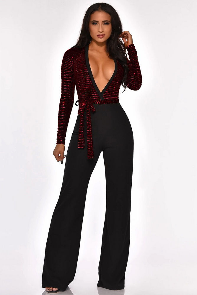 ML22219 Sexy Women Deep V-neck Elegant Sequined Party Jumpsuit