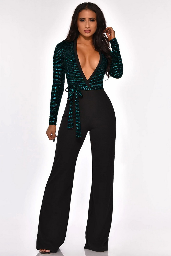 ML22220 Sexy Women Deep V-neck Elegant Sequined Party Jumpsuit