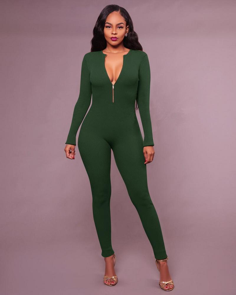 ML21326 Sexy Women Backword Wear Bodycon Autumn Jumpsuit