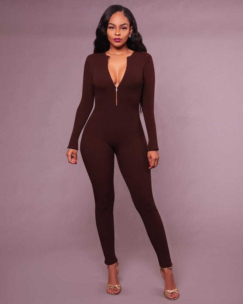 ML21327 Sexy Women Backword Wear Bodycon Autumn Jumpsuit
