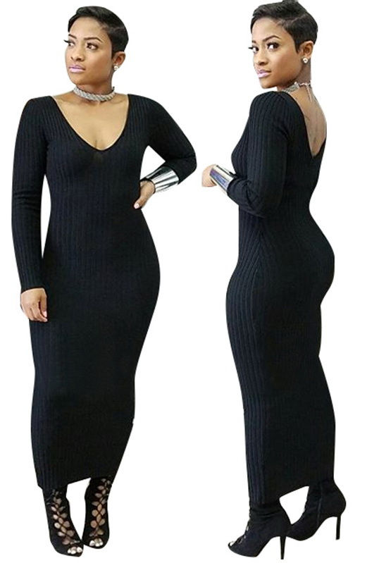 ML21363 Sexy Women V-neck Long Sleeve Autumn Long Maxi Dress