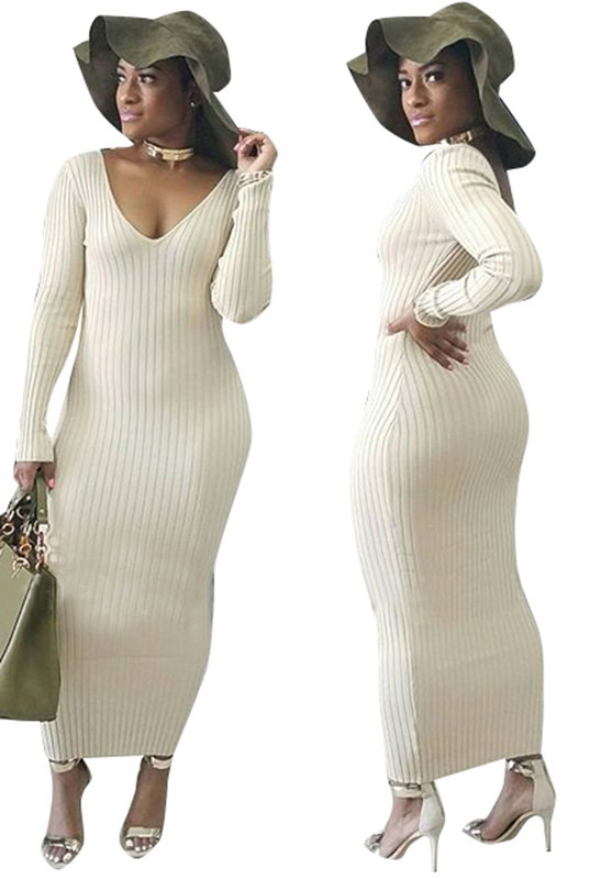 ML21364 Sexy Women V-neck Long Sleeve Autumn Long Maxi Dress