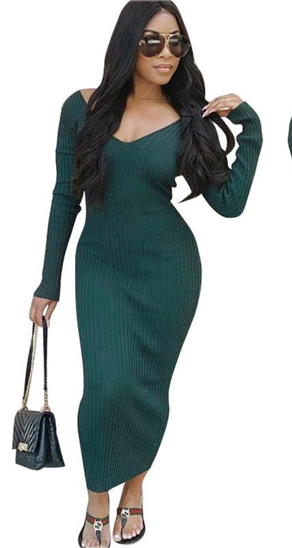 ML21365 Sexy Women V-neck Long Sleeve Autumn Long Maxi Dress