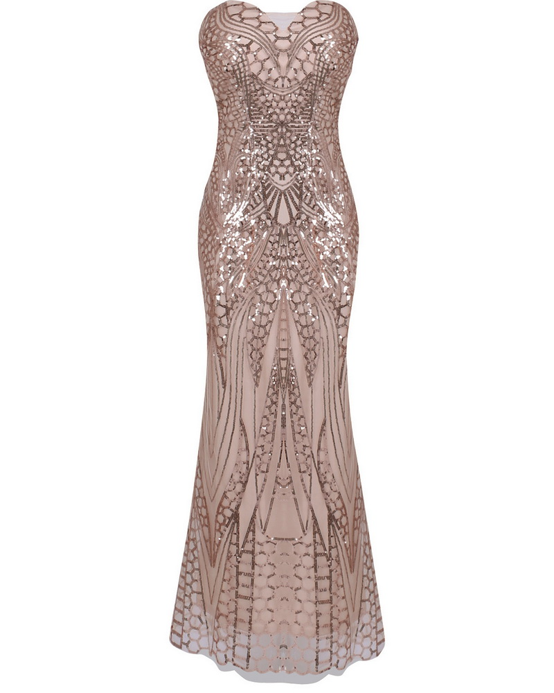 ML21865 Sexy Women Strapless Bodycon Sequined Long Party Dress