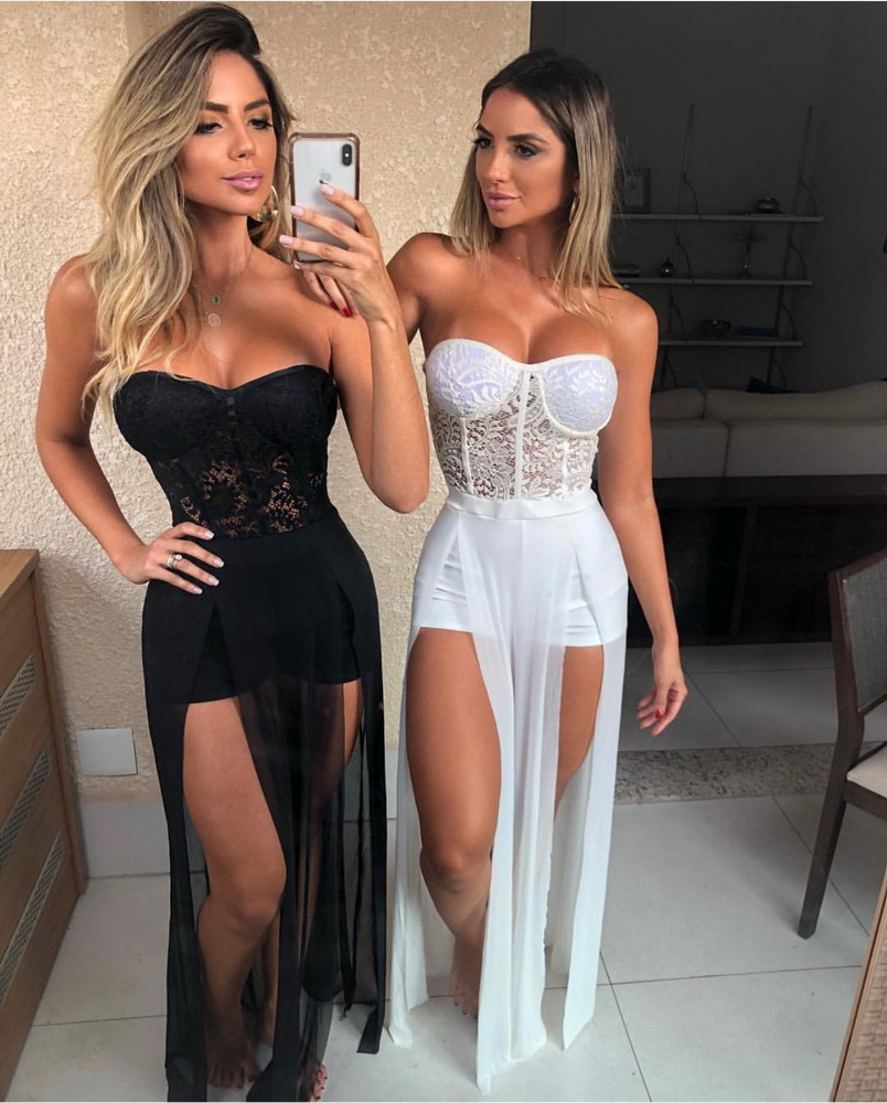 ML22888 Sexy Women Strapless Bodycon Lace Party Playsuit