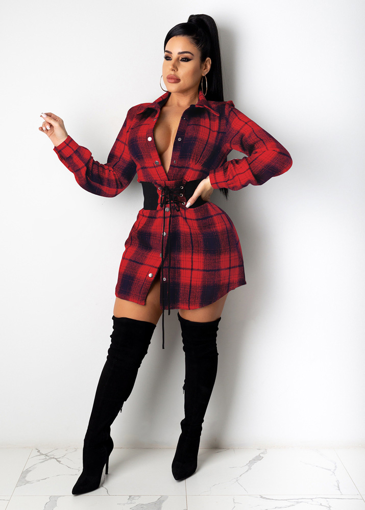 ML22916 Sexy Women Turn Down Collar Elegant Plaid Casual Shirt Dress With Sashes
