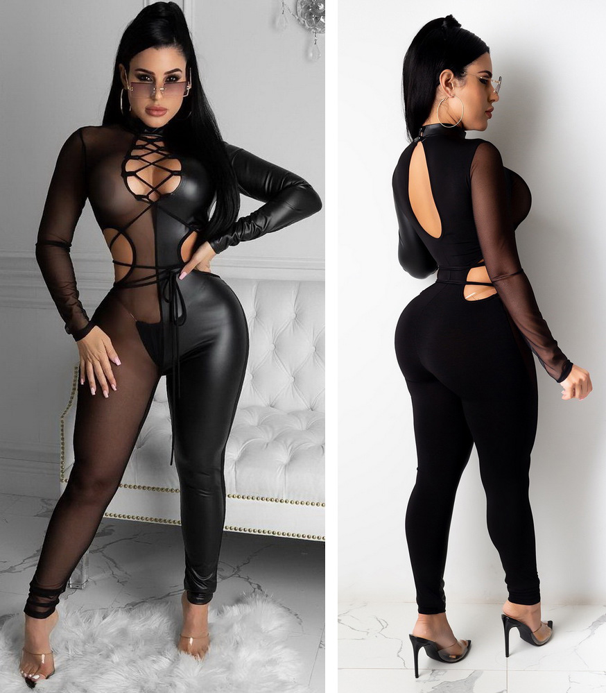 ML22972 Sexy Women Patchwork Mesh Bodycon See Through Club Jumpsuit