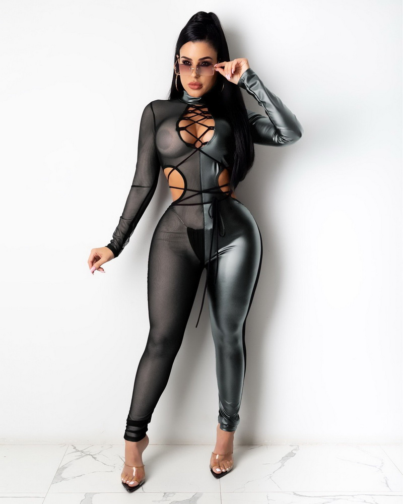 ML22974 Sexy Women Patchwork Mesh Bodycon See Through Club Jumpsuit