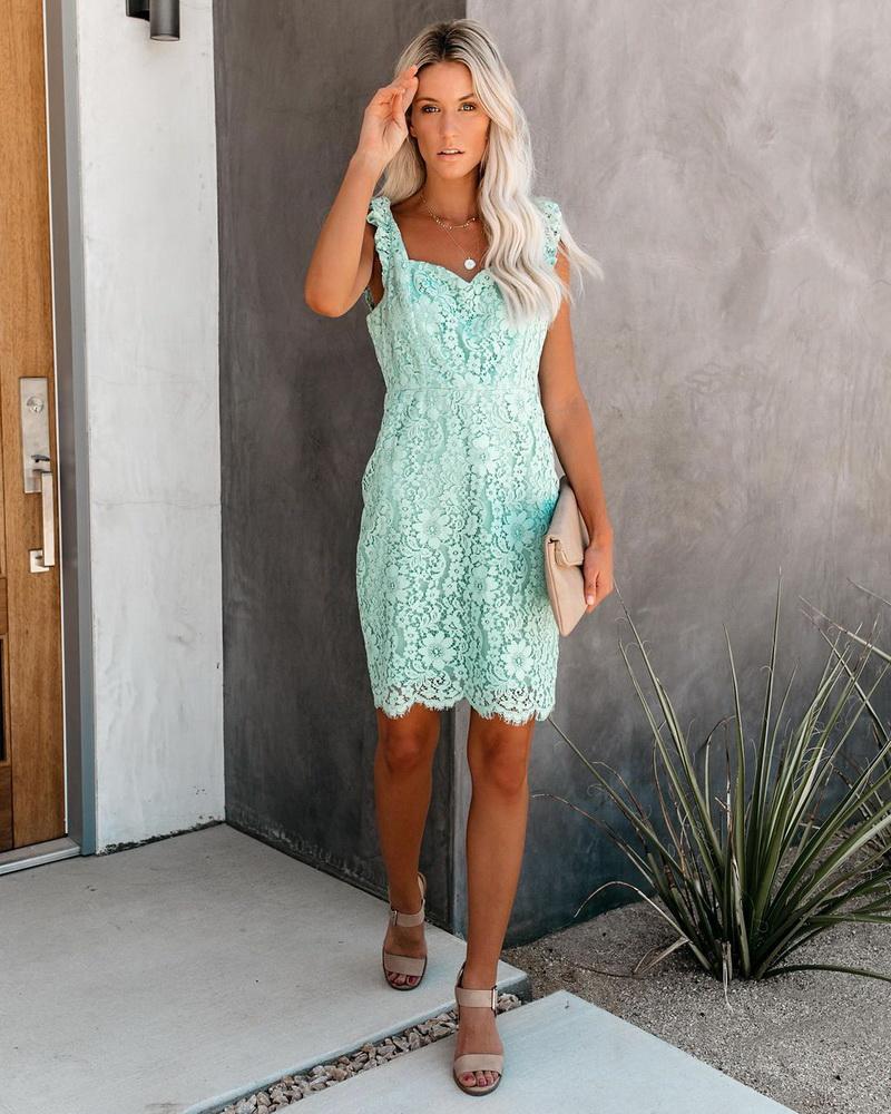 ML22433 Sexy Women V-neck Sleeveless Bodycon Lace Party Dress