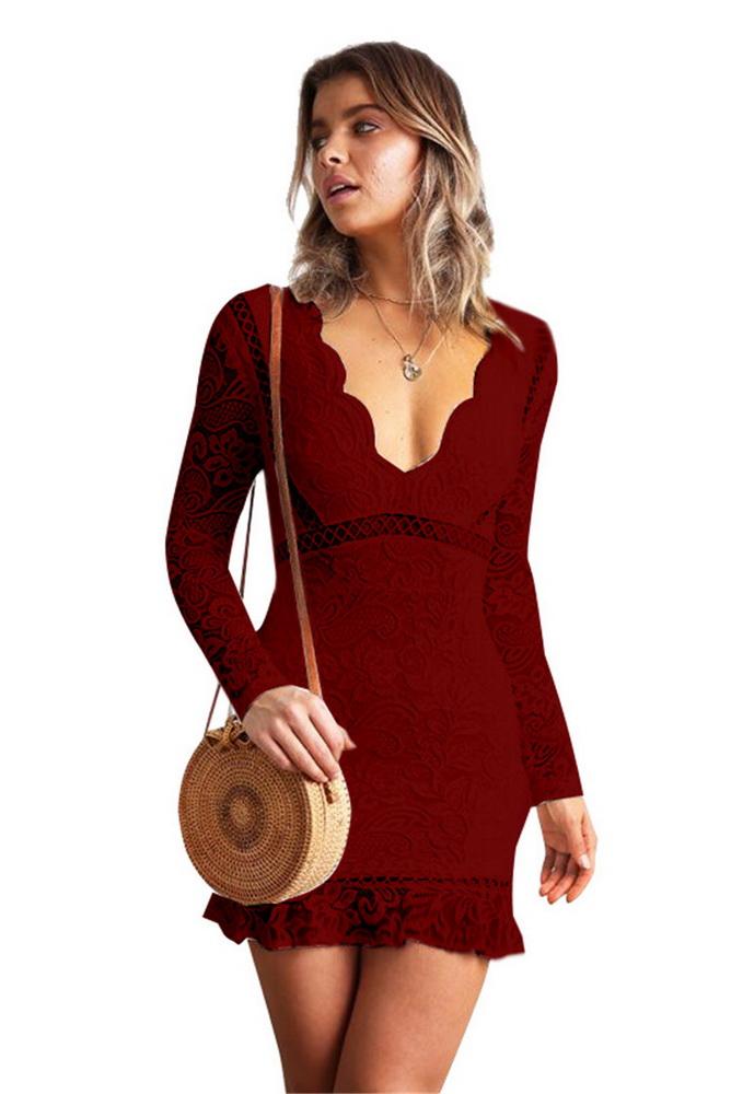 ML22187 Sexy Women V-neck Long Sleeve Bodycon Lace Office Pencil Dress