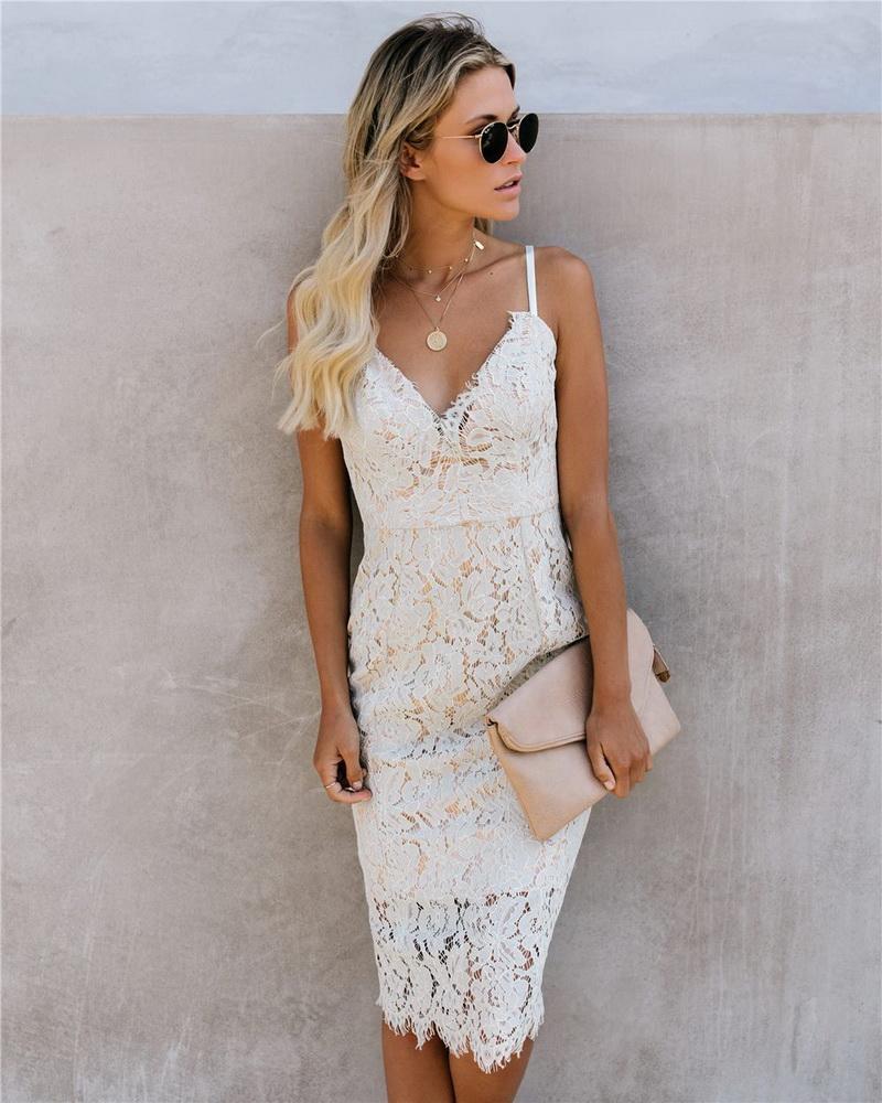 ML22438 Sexy Women Spaghetti Strap Bodycon Lace Party Dress