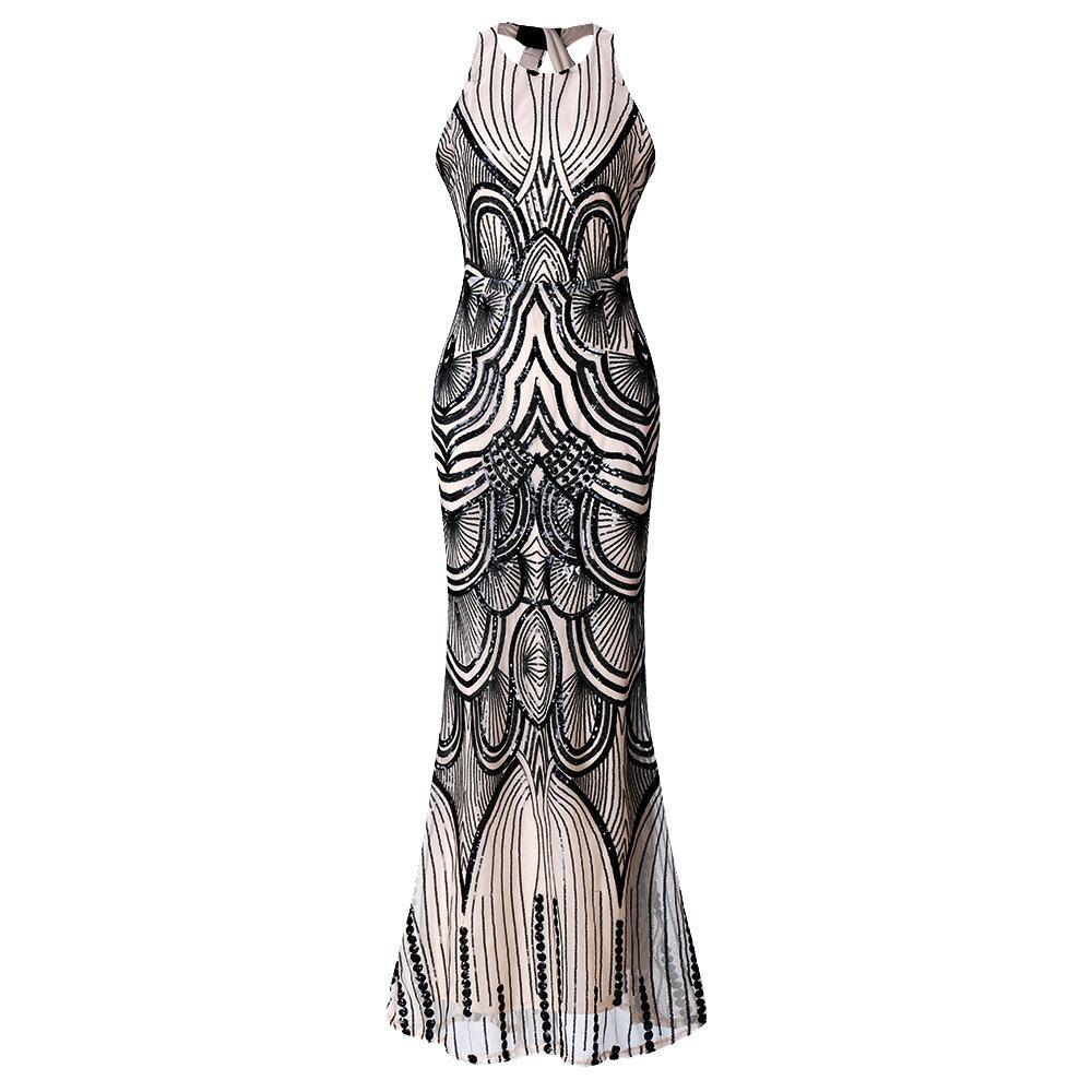 ML21870 Sexy Women O-neck Sleeveless Bodycon Sequined Long Evening Dress