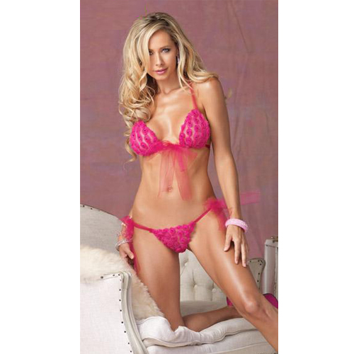 Tulle Sequin Rosette Bra Top and Matching Side Tie Brazillian Panty