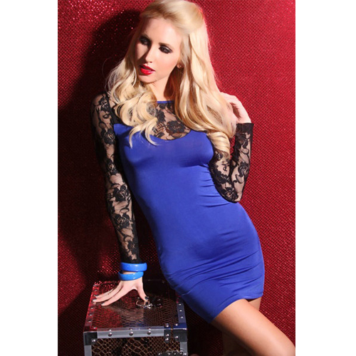 Elegant Blue Long Sleeve Short One Piece Dress