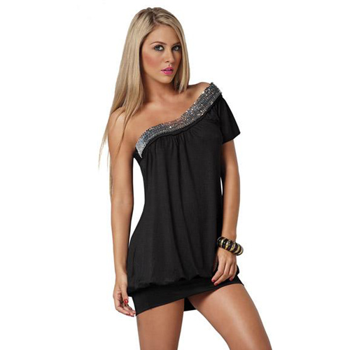 Black One-shouldered mini Sexy dress