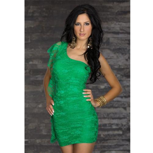 High Quality Short Mini Dress Fashion One Shoulder Partywear Green Club Dress