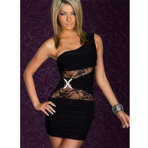 Sexy One-shoulder Black Club Wear Mini Dress