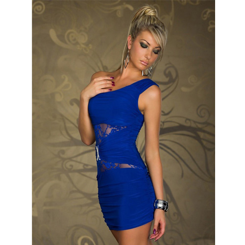 Sexy Blue One-shoulder dress with double C and lace night-wear stress