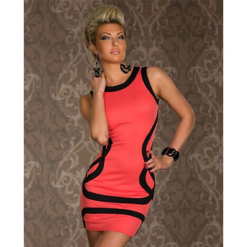 Elegant Orange SLeeveless Black Trims Disco Wear Bodycon Tank Dress Ball Party Wear