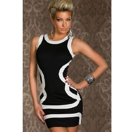 Sexy Womens Black Dress With White Stripes Sheath For Evening wear dresses
