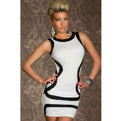 Sexy Womens White Dress With Black Trims Slim-fitting For Clubwear dresses