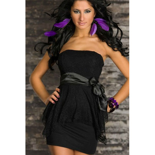 ML17850 Sexy Black Strapless Tube Double-layer Package Hip Tutu Dress Sexy clubwear Dress