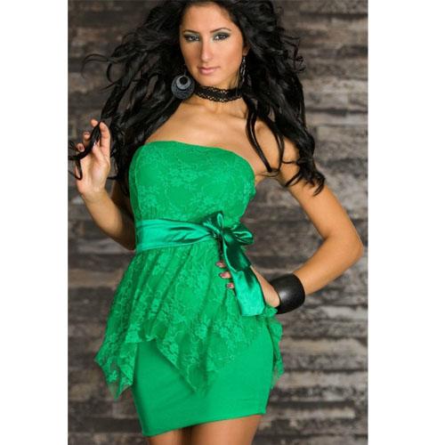 ML17852 2013 New Ladies Layered Lace Strapless Mini Dress Sexy Night Clubwear