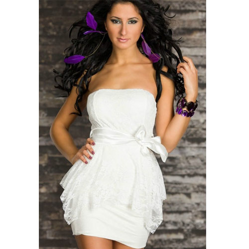 ML17853 Wholesale White Double Bud mini dress Evening Party Sexy Lingeries dress