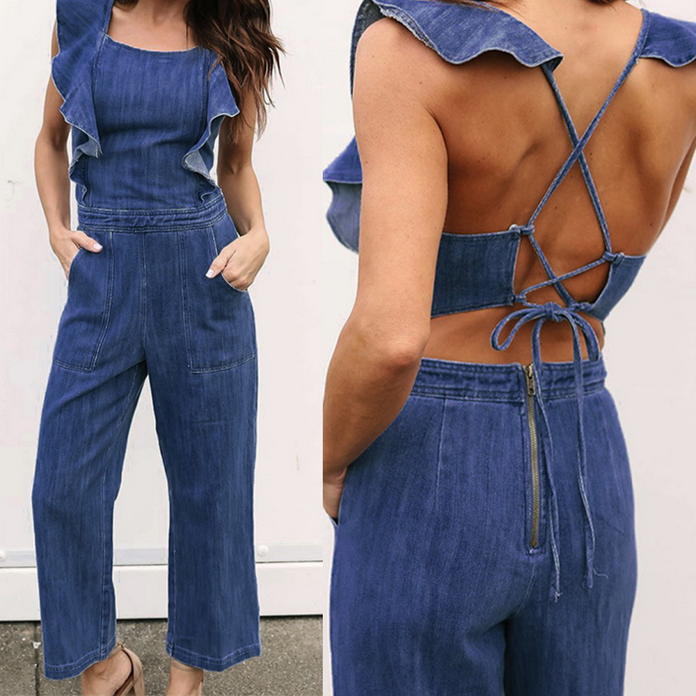 ML20806 Sexy Women Sleeveless Novelty Summer Casual Denim Jumpsuit