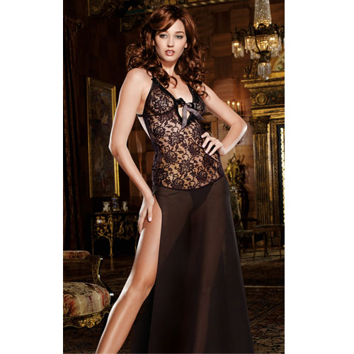 Stretch Lace and Chiffon Night Gown