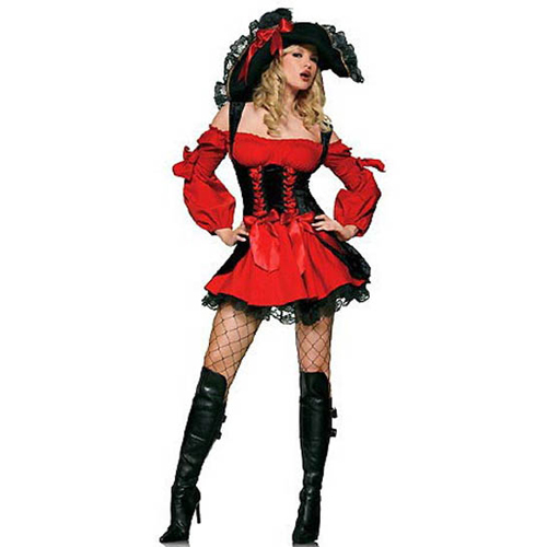 Girls Vixen Pirate Costume+Red Naughty Charming Dress-up Parties Costume