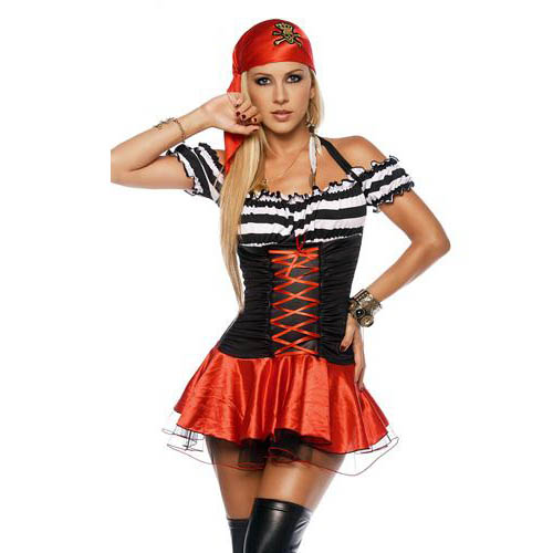 2012 Newest Fashion Pirate Costume for Halloween Sexy Pirate Corsair Cosplay Costume Classic Halloween Fancy Dress