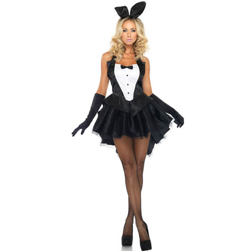Black Tux and Tails Women's Sexy Bunny Costume